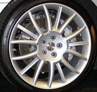 09-12 MASERATI GRAN TURISMO 4.7 20x8.5 Contoured Alternating 15 Spoke SILVER TRIDENT FRONT