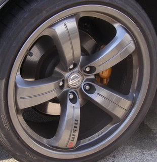 08 NISSAN 350Z NISMO 18x9 Convex Fingerlike Grooved 5 Spoke RAYS ENG FRONT
