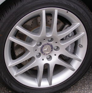 08-09 MERCEDES CLK350 17x7.5 Flat Thin Double 6 Spoke 209 CH - SILVR FRONT