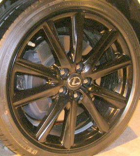 12-15 LEXUS GS350 FSPORT/GS450H CRAFTED LI 19x8 Angular Contoured 5 V-Spoke A US GLOSS BLACK FRONT